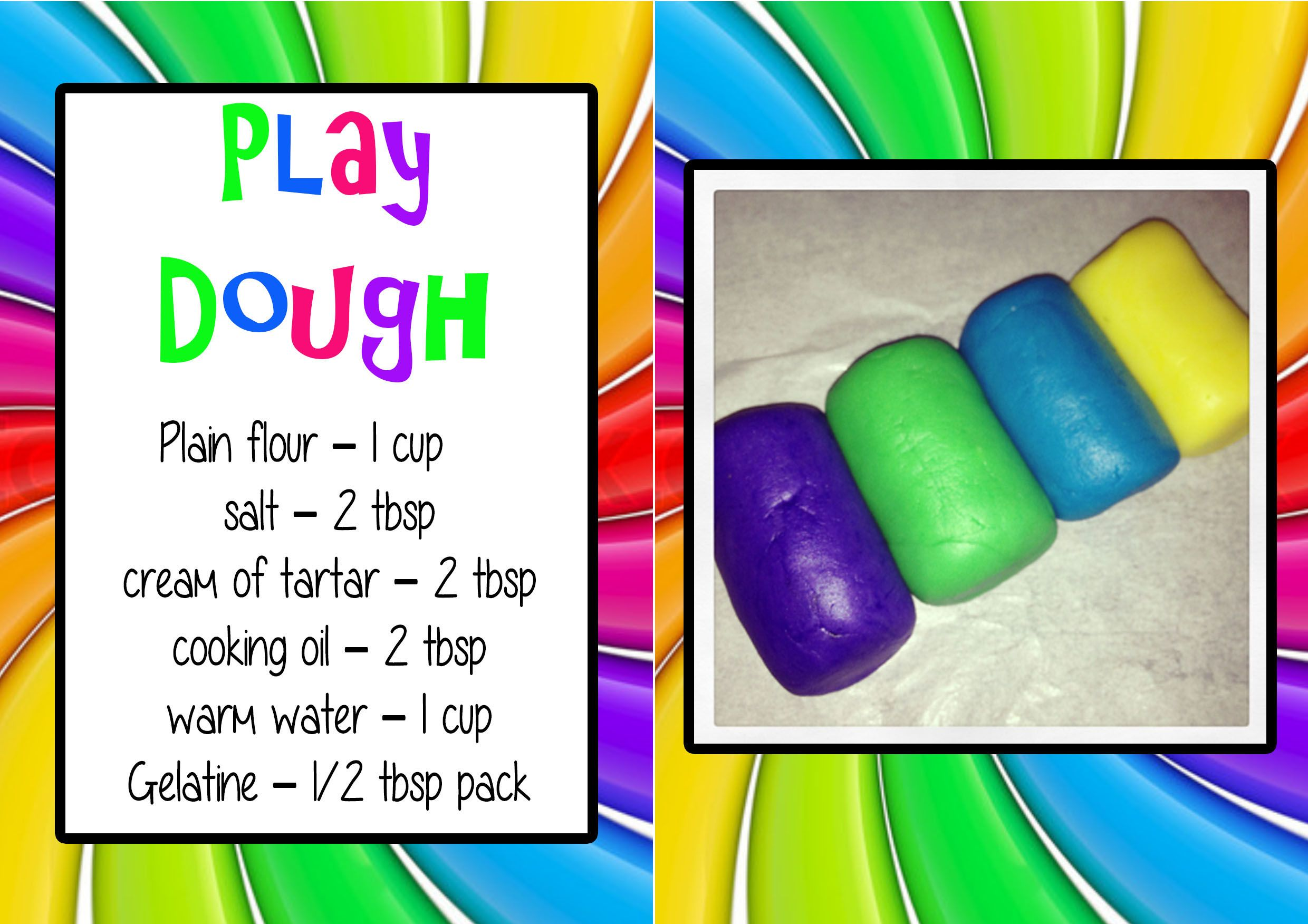 Love, LOVE, Love this Play Dough recipe!!! Its so easy to clean up! Its NOT Sticky! & Stays super smooth,no hard bits!   Found it here :)  http://pinterest.com/pin/164522192607904925/