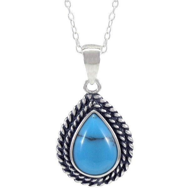 85a91b5479876 Silver Turquoise Teardrop Pendant Necklace that is Set in Sterling Silver -  (25.00) - target.com - found on Polyvore -