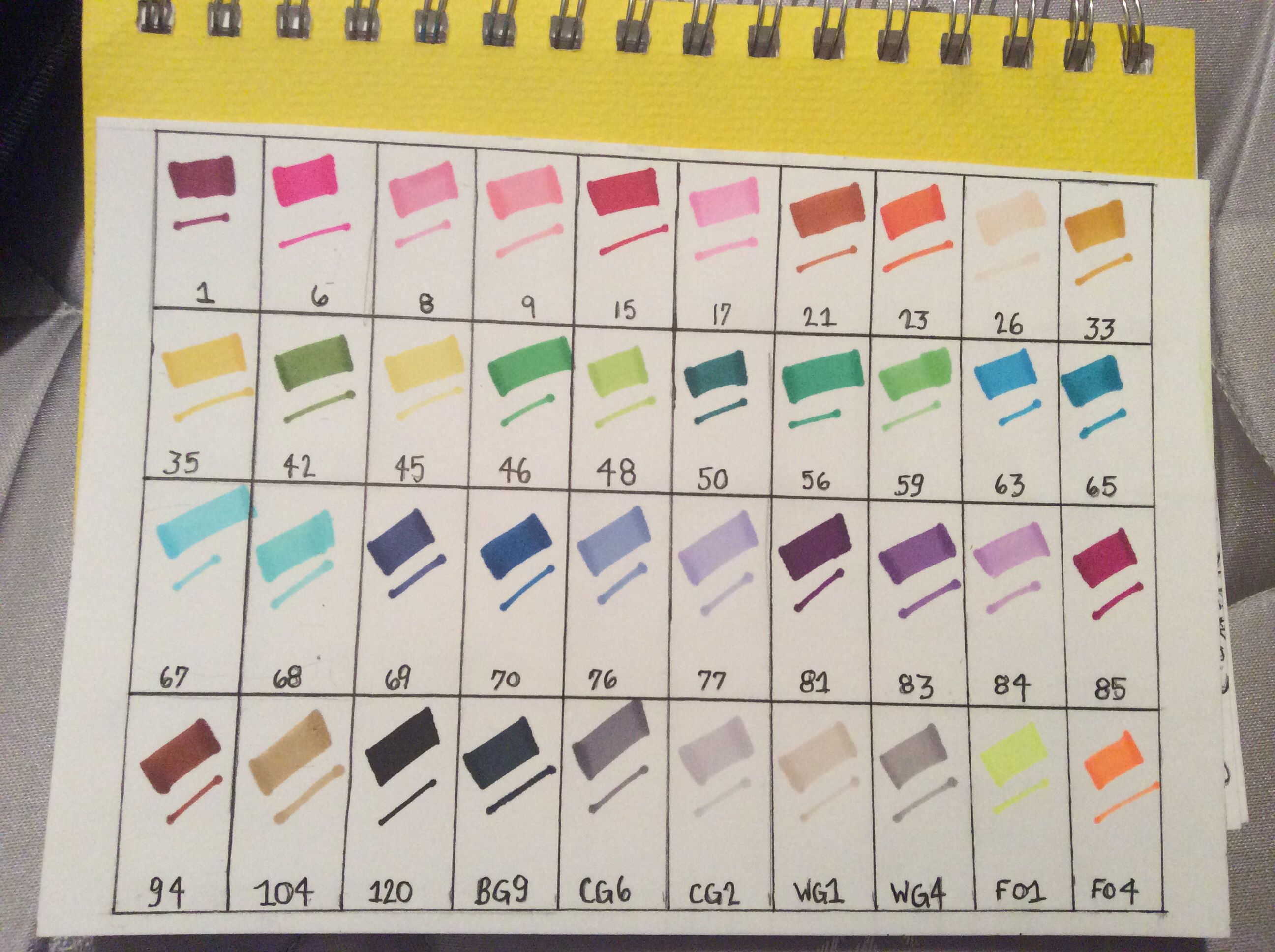 Ohuhu 40 Marker Color Chart Homemade Ohuhu Markers Markers Color Chart