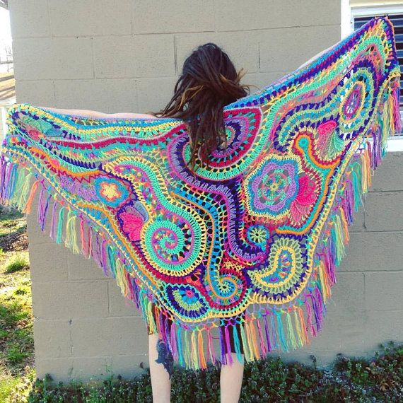 Custom Made For You Freeform Crochet Shawl // Ooak Wearable Fiber ...