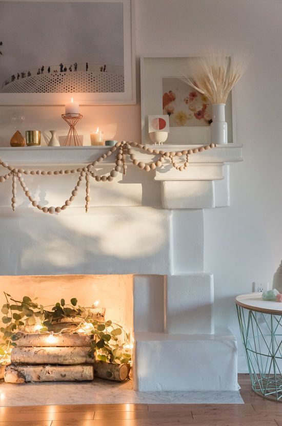 D E S I G N L O V E F E S T » Search Results » diy wooden garland -   24 apartment fireplace decor ideas