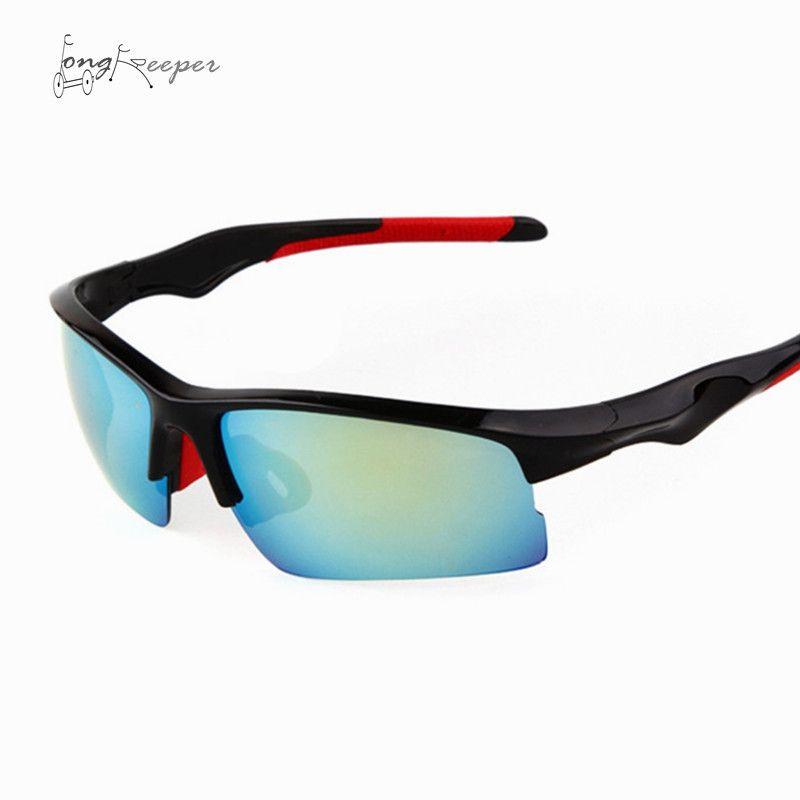 5ac5cf1ebea LongKeeper Men s Sports Sunglasses Outside Cycling Half Frame Goggles  Biking Rimless Sun Glasses Eyewares UV 400