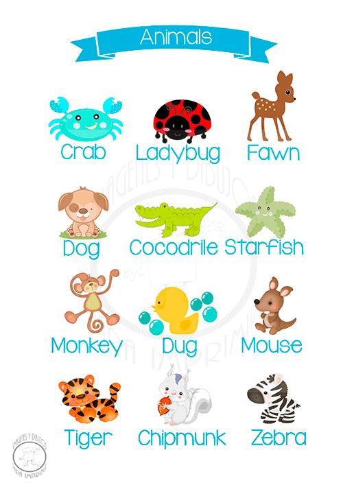 Animales En Ingles Imagenes Y Dibujos Para Imprimir English Lessons Creative Kids English Vocabulary