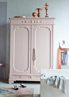 Oud Roze Koper Kinderkamer Beschilderde Kast Roze