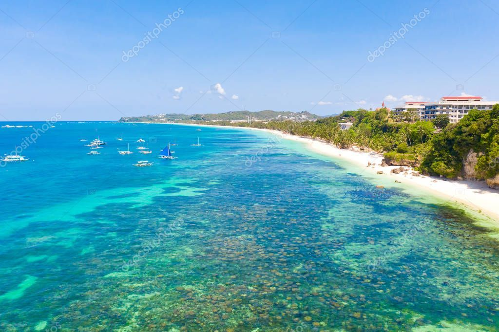 Many tourist boats near the island of Boracay. Seascape in the Philippines in su ,