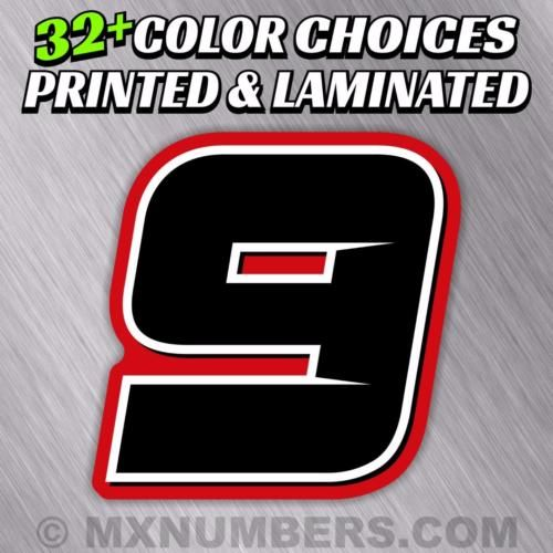 Details About 3 Custom Racing Number Plate Decals 4 Colors Sx Mx