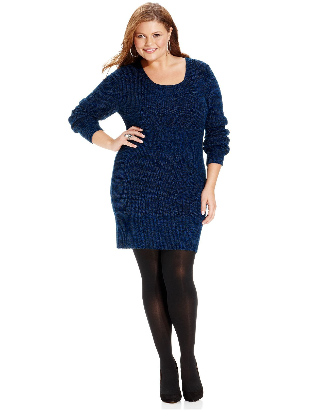 Extra Touch Plus Size Long Sleeve Marled Crisscross Back Sweater