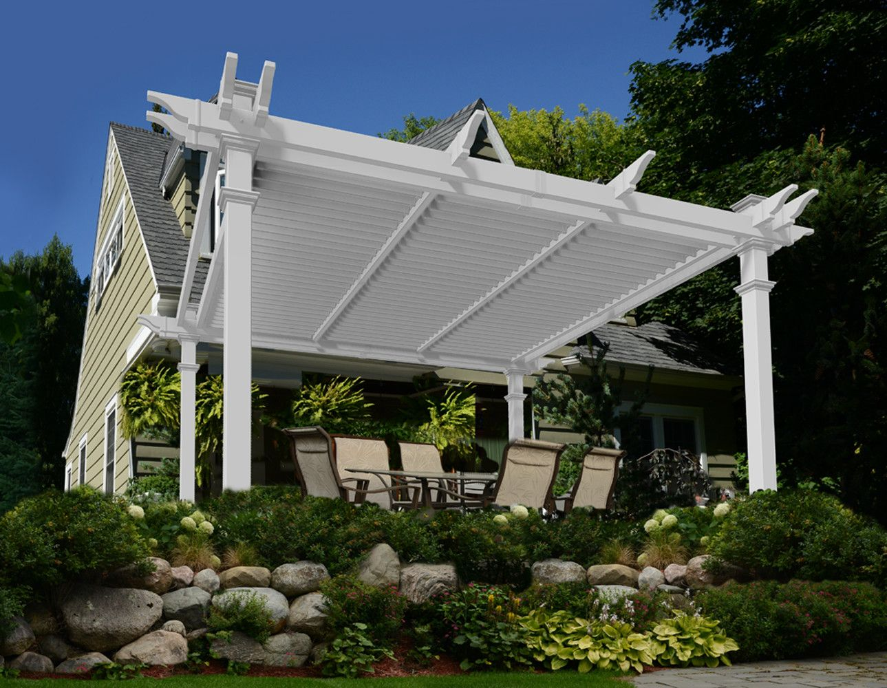 New England Arbors Camelot Louvered 12 Ft W X 12 Ft D Vinyl Pergola Vinyl Pergola Louvered Pergola Pergola