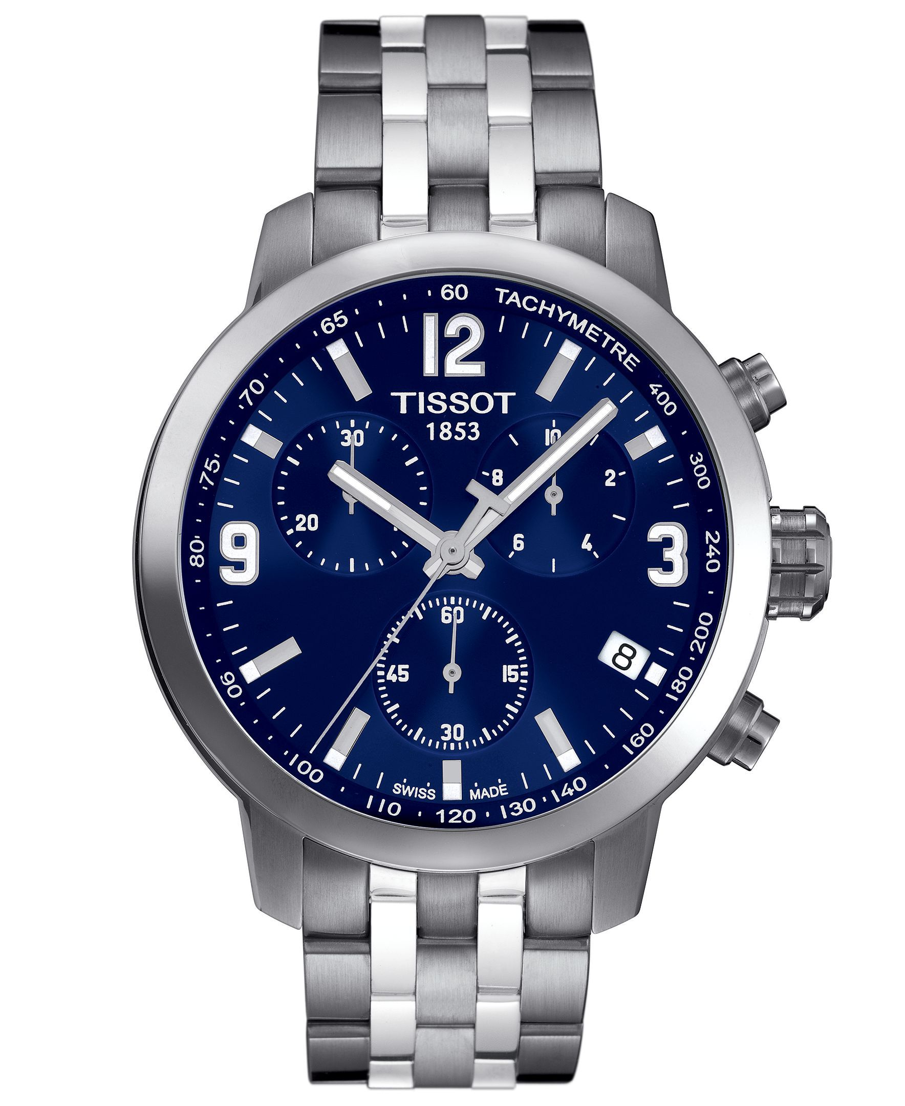 A deep blue dial adds a striking finish to Tissot's luxury PRC200 watch. | Stainless steel bracelet | Round case, 41mm | Blue chronograph dial with silver-tone luminous indices, numerals, three hands,