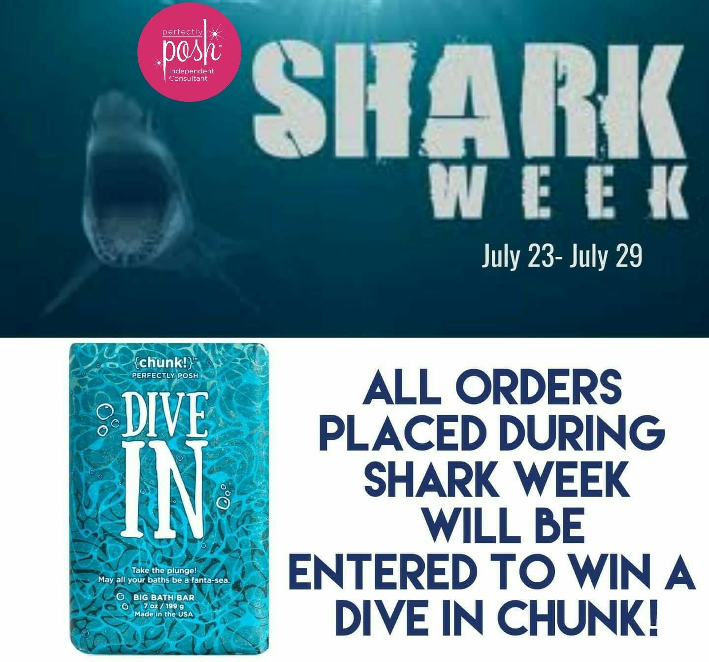 It's shark week! If you need some Posh this is a great time to stock up. Everyone who orders from me this week will be entered into a drawing for a free Dive In chunk! Hurry before this offer swims away! Https://SamanthaHudsonMO.po.sh