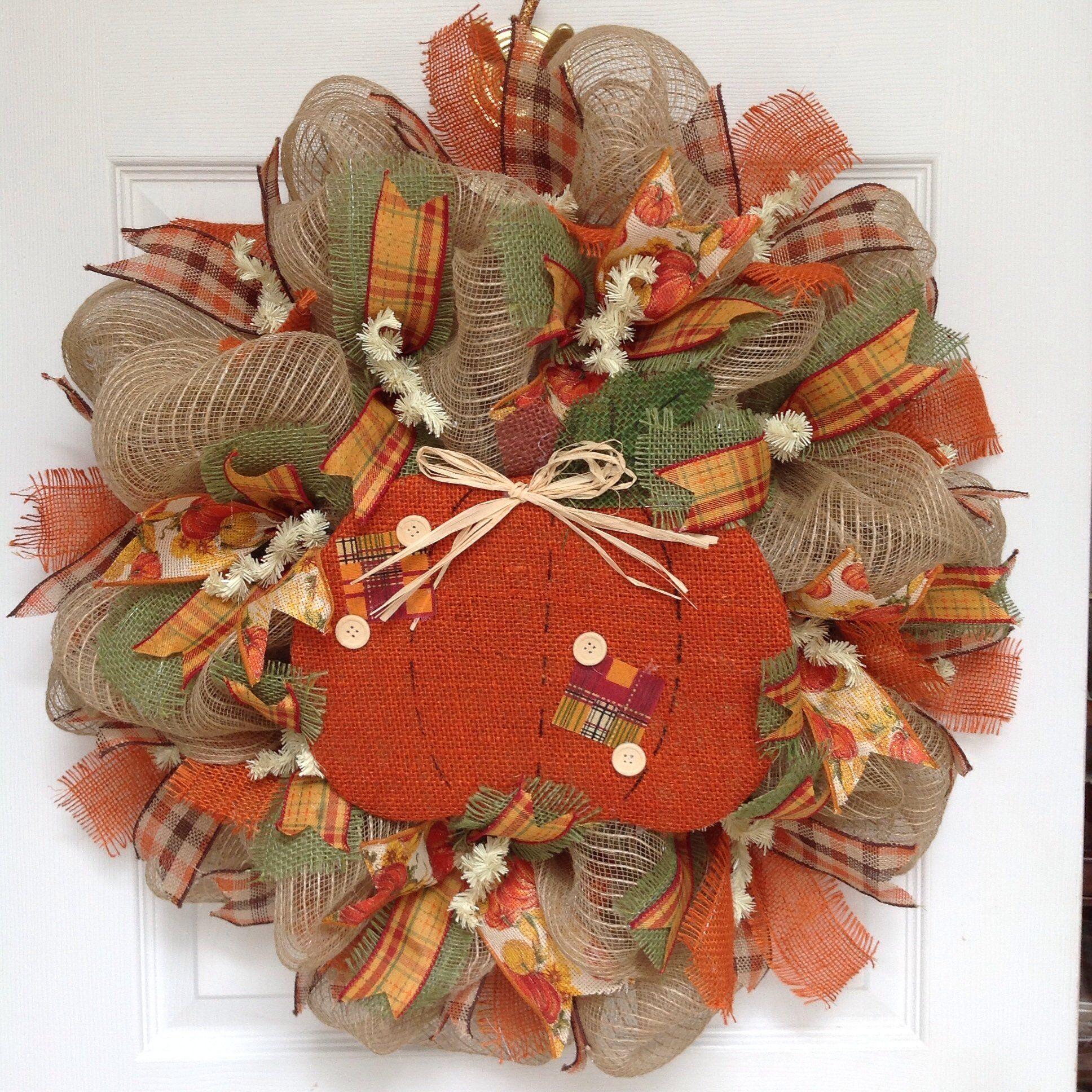 New! Full! Premium Handmade Country Pumpkin Button Autumn Deco Mesh Wreath