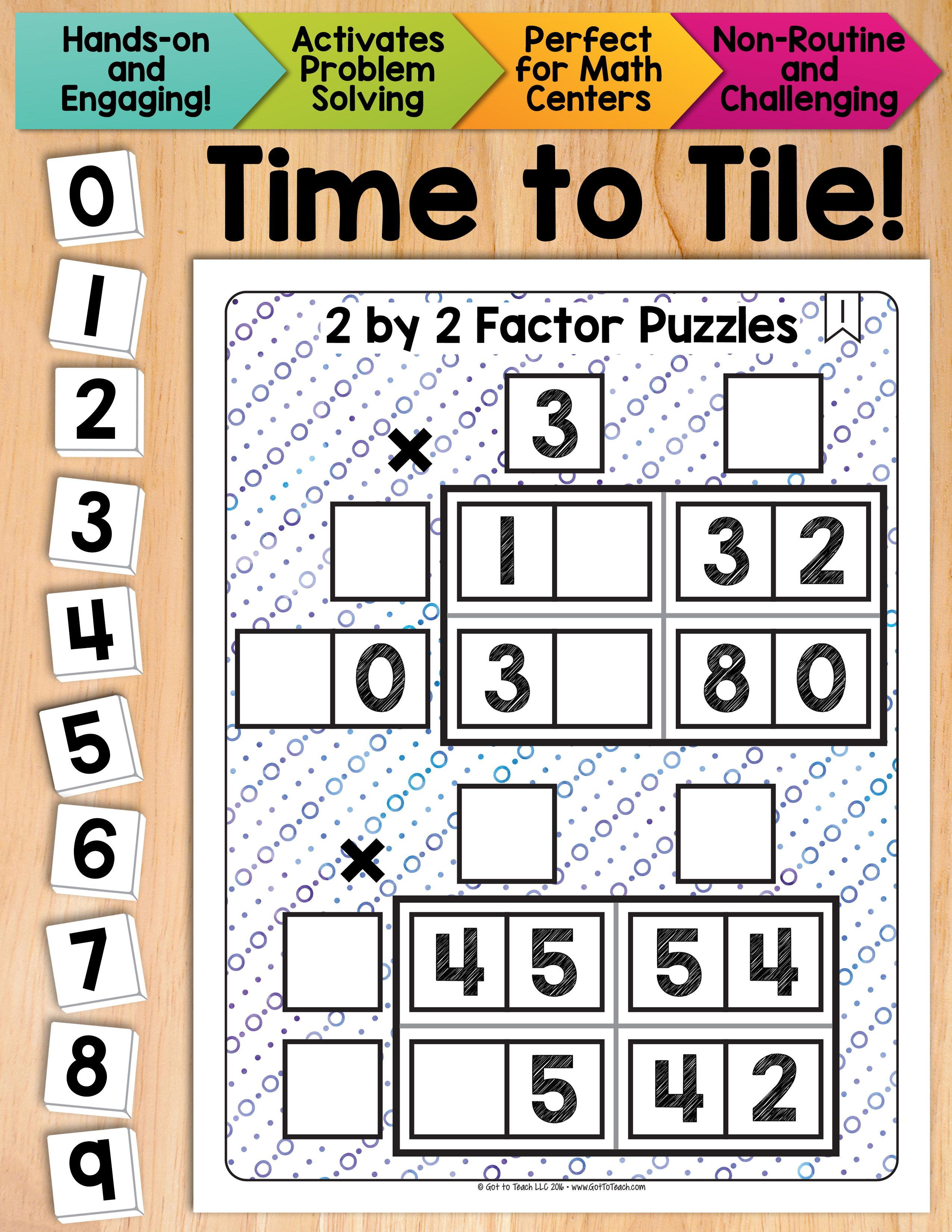 Math Tiles 2 By 2 Factor Puzzles Math Centers