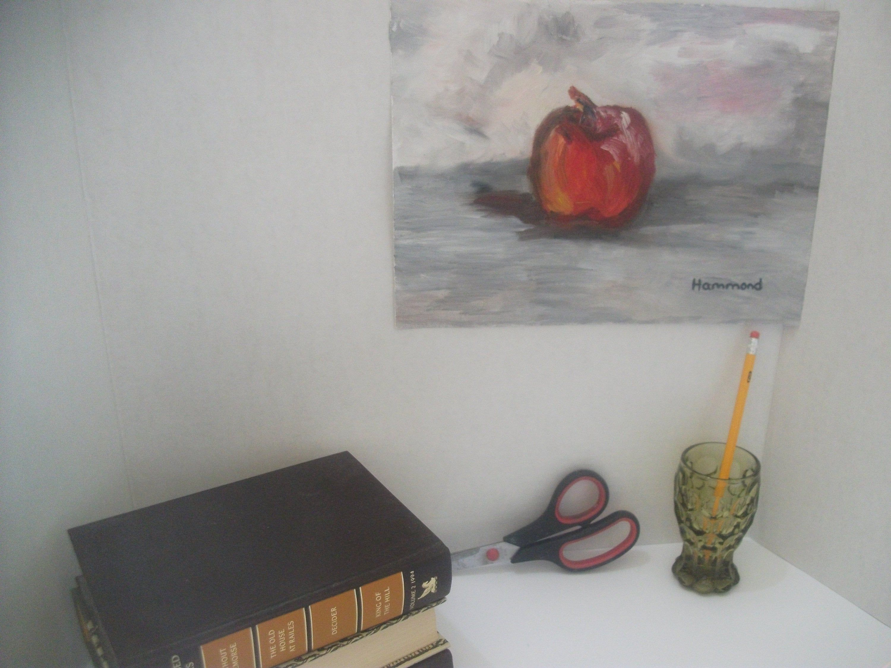 A Red Apple On A Gray Background Original Art By Gina Hammond Etsy In 2020 Original Oil Painting Love Painting Images Original Art