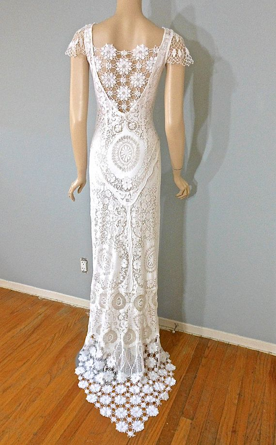 White Lace Wedding DRESS BoHo Crochet Hippie by MuseClothing ...