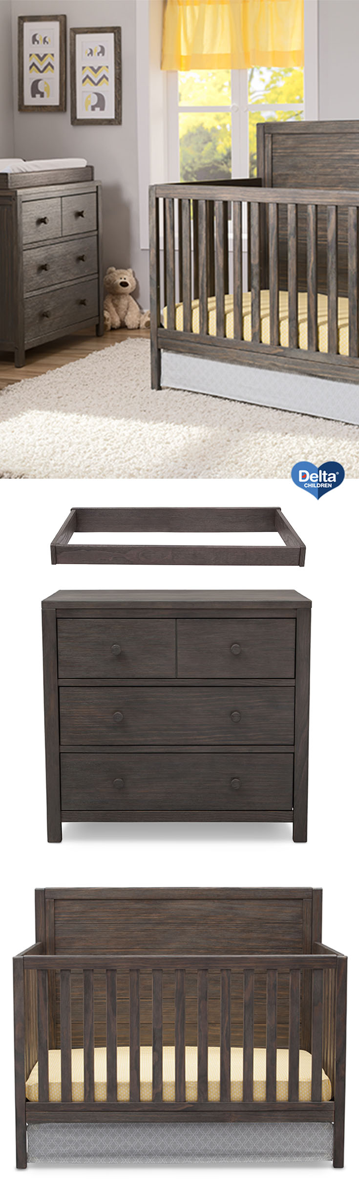 rustic grey crib on delta children cambridge mix and match 4 in 1 convertible crib rustic gray walmart com in 2021 baby cribs best baby cribs rustic wood bed delta children cambridge mix and match