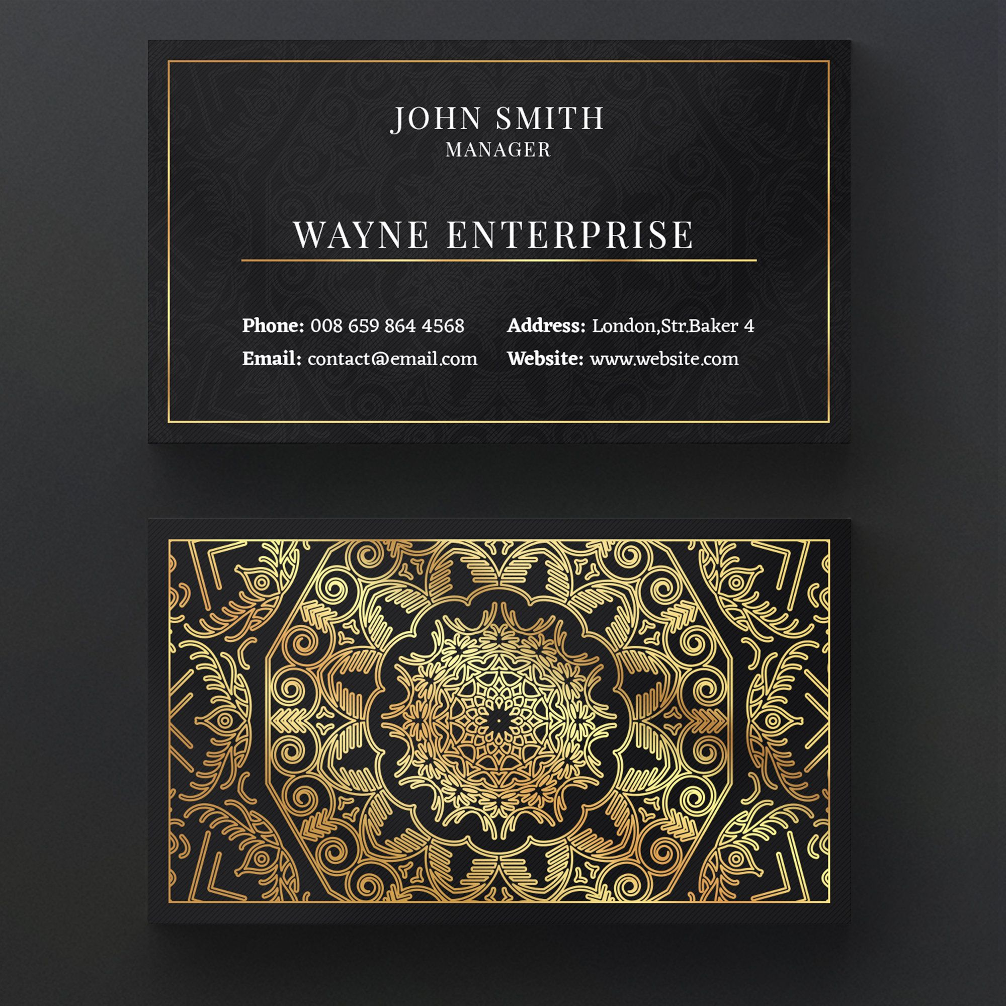 Luxury Mandala Business Card Luxury Business Card Design Business Card Template Exclusive Stationary Template Corporate Branding Template Luxury Business Cards Visiting Card Design Vector Business Card