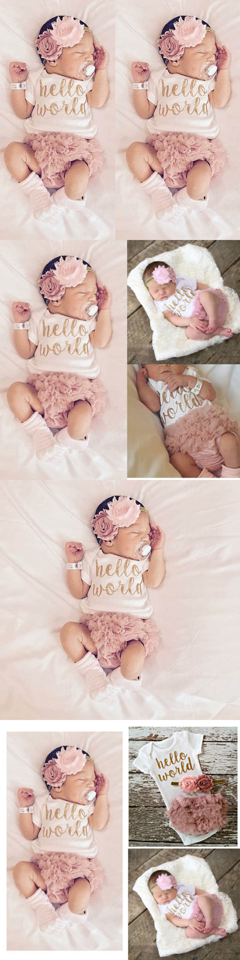 Baby Girls Clothing: 3Pcs Summer Newborn Romper Flower Infant Baby Girls Clothes Jumpsuit Bodysuit Us -> BUY IT NOW ONLY: $9.99 on eBay!