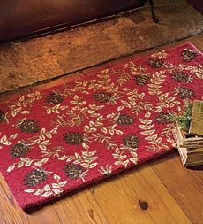 Hand Hooked Wool Rug Is Naturally Fire Resistant Bright Red Background A Pine Cone Motif Add Color And Interest To Your Hearth