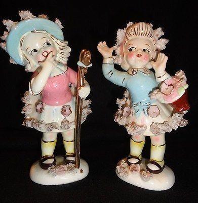 Vintage Pair Lipper & Mann Creations Sassy Girls with Spaghettie Trim   #491399994