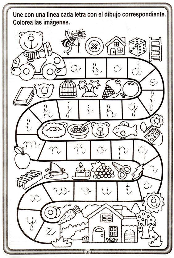 abecedario y trazos001 | COLOREAR | Pinterest | Abecedario, Escuela ...