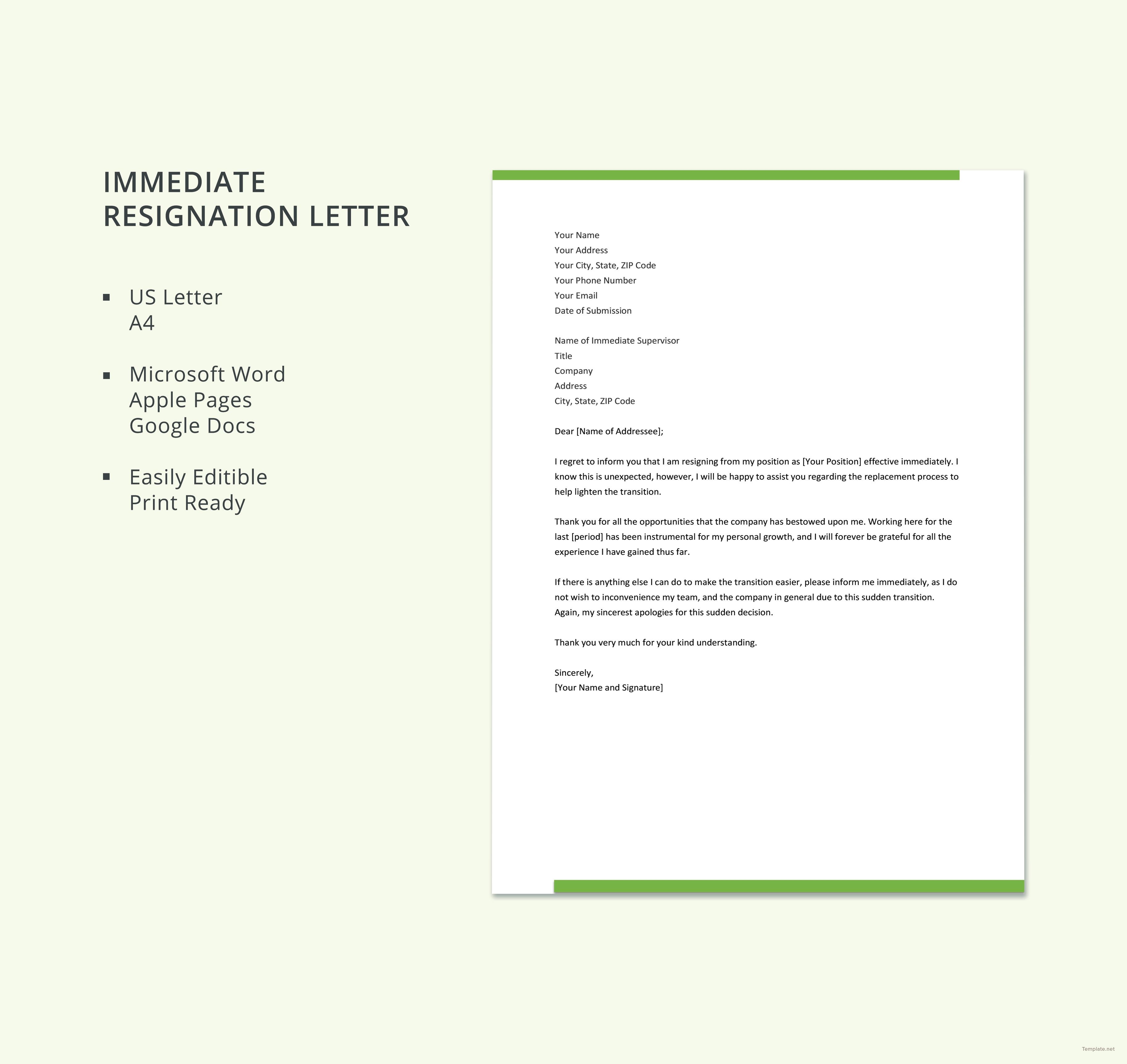 Free Immediate Resignation Letter With Images Resignation