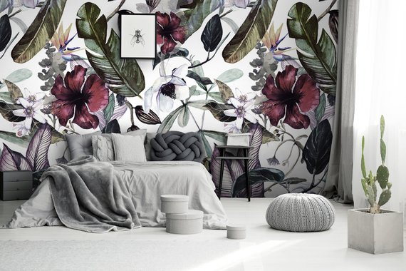 Beautiful Tropical Read Orchid And White Magnolia Wallpaper Etsy Magnolia Wallpaper Decor White Magnolia