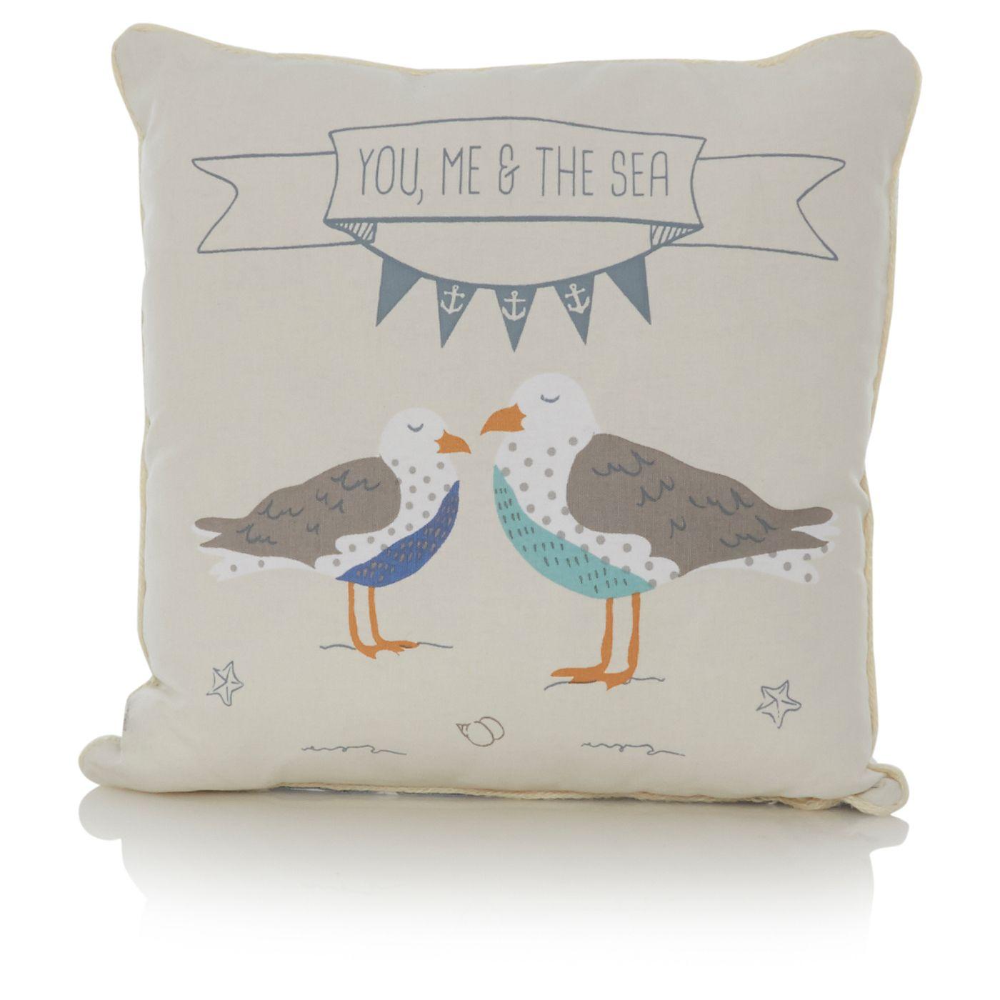 George Home Blue Seagull Cushion Shore ASDA direct