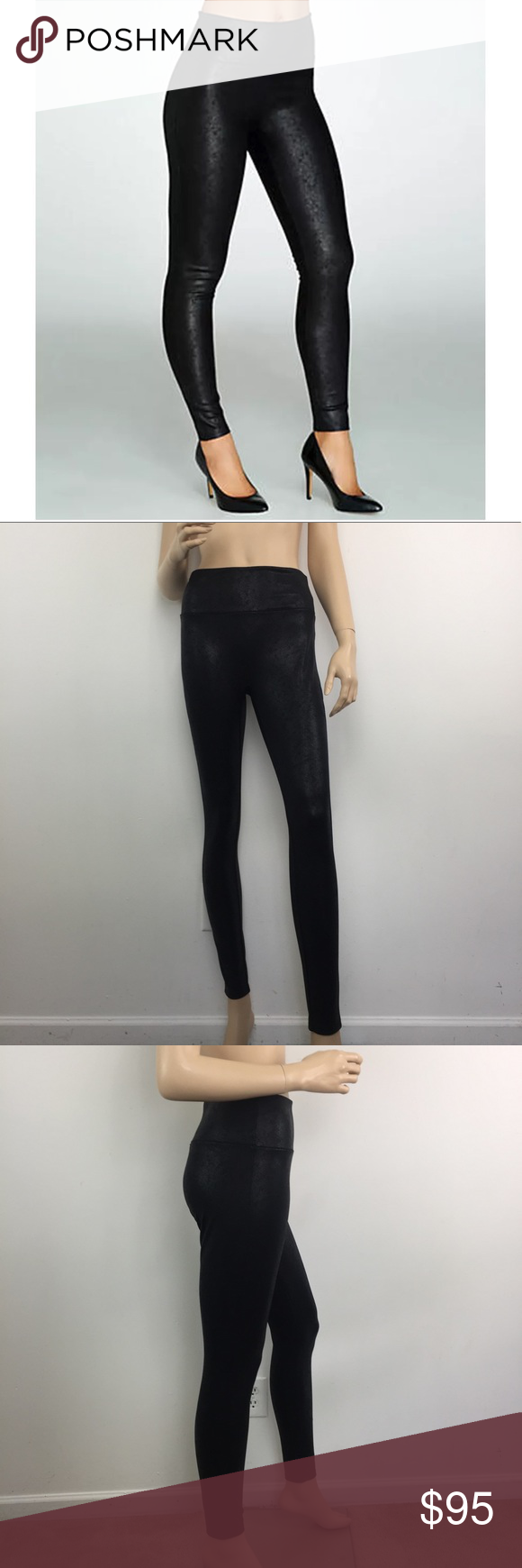 42f79fc3d84d4c Assets by SPANX Black Structured Shine Leggings M These ASSETS Red Hot Label  by Spanx shine leggings offer a structured shaping waistband with inner  power ...