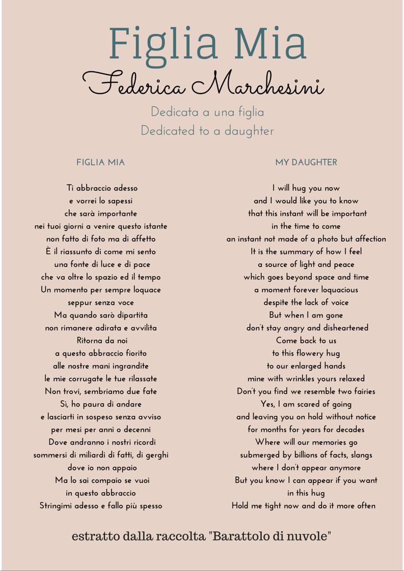 Figlia Mia Poesia Tratta Dalla Raccolta Di Poesie Barattolo Di