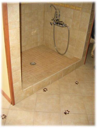 Dog bone / biscuit SHAPED ceramic tiles make great doggy shower ...