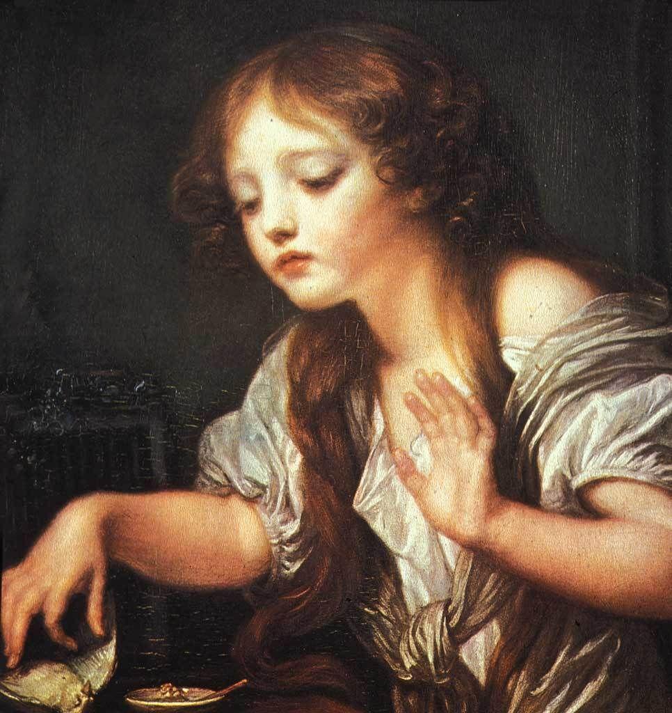 Jeune fille pleurant son oiseau mort de Jean-Baptiste Greuze Musée du Louvre à Paris