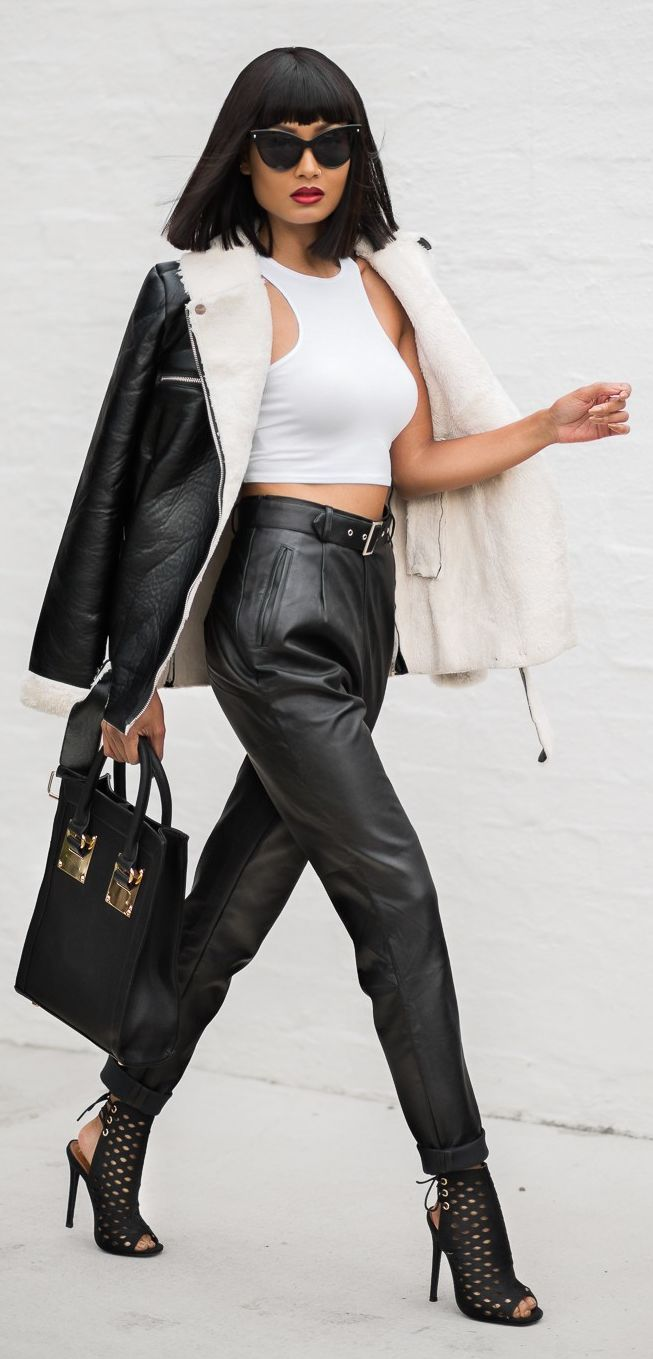 bb7a63b5d5dd57 Black Leather Pants Outfit Idea by Micah Gianneli