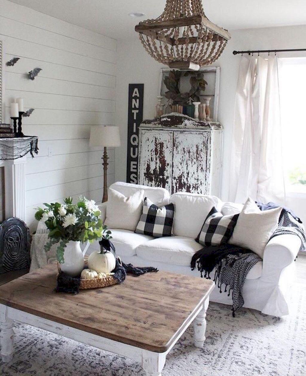 04 cozy modern farmhouse living room decor ideas | Modern ...