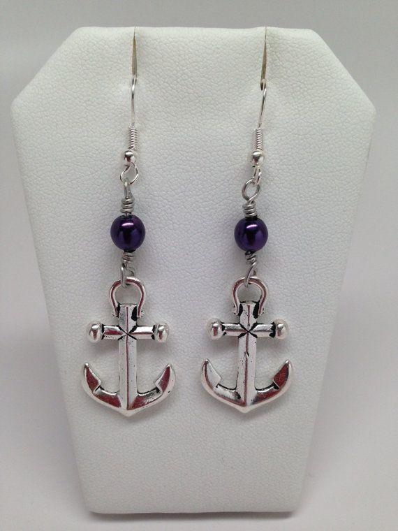 Tierracast Anchor Earrings with a purple by JewelryByTerriB, $15.00 #jewelryonetsy #earrings #jewelry