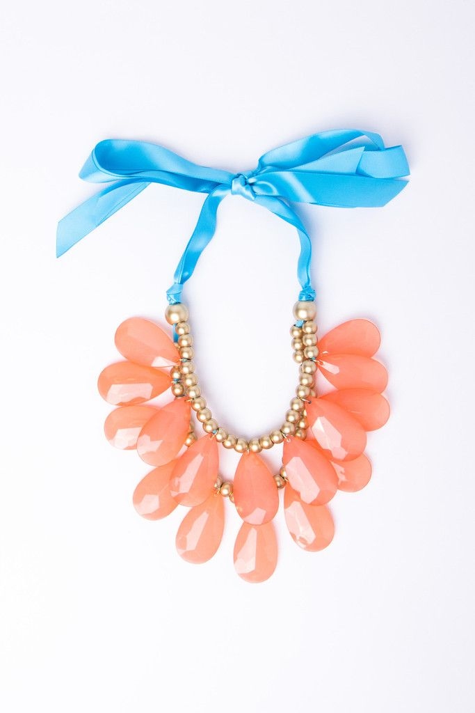 Coral and blue statement necklace