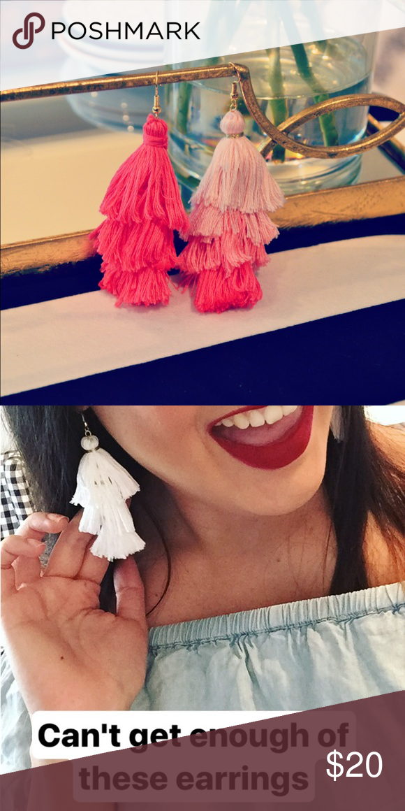 """Tassel earrings Who is obsessed with tassel earrings as much as I am?! I can do custom orders! 3 Layers or 4 Layers. 3 Layers are $18, 4 Layers are $20. Comment below with how many earrings, Layers, and your color/color combination you want. Then """"make an offer"""" of the stated above price. *Firm on price. Jewelry Earrings"""