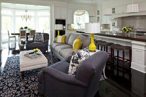 Wohnzimmer Farbgestaltung U2013 Grau Und Gelb   Wohnzimmer Farbgestaltung  Schwarz Bodenbelag
