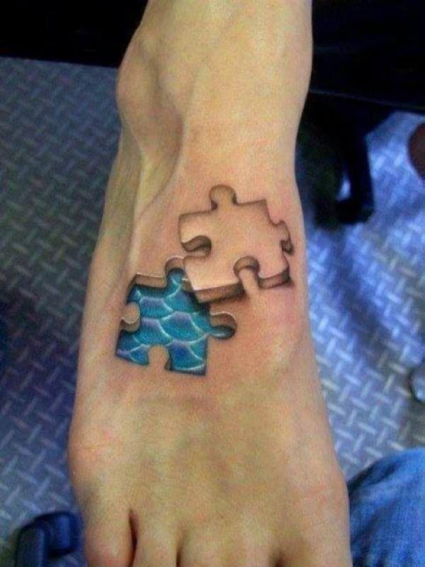 3D puzzle piece tattoo | Tatuaże