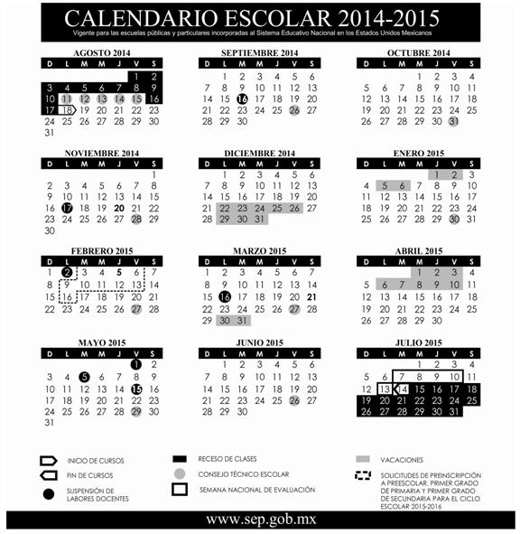 Ciclo Escolar: SEP Calendario Escolar 2014-2015 (Ciclo