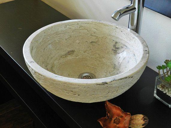 Natural Stone Round Vessel Sink Beige-CreamTravertine marble rustic