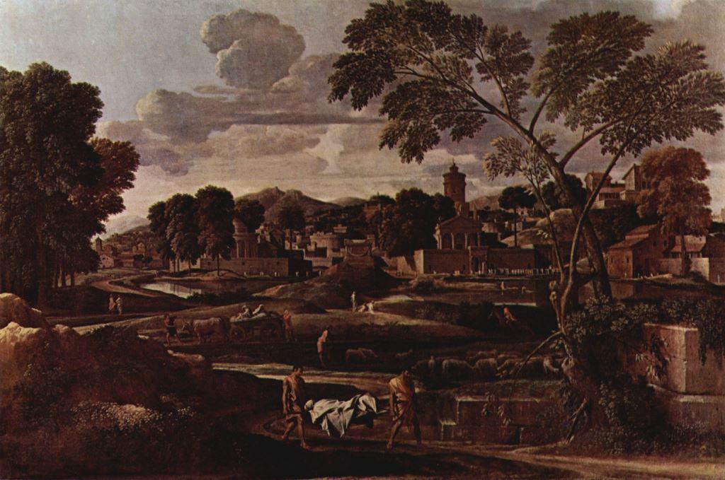 Landschaftsmalerei barock  Nicolas Poussin. Landschaft mit dem Begräbnis des Phokos. 1648, Öl ...
