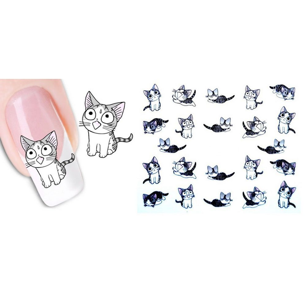 New Lovely Cartoon Animals Water Transfer 3D Cute Cat Pets Pattern ...