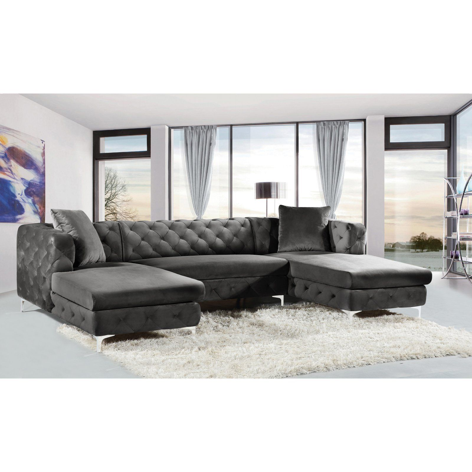 Meridian Furniture Inc 3 Piece Gail Velvet Sectional Black In 2019