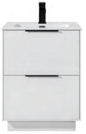 White Gloss ORCA Collection - White Gloss Orca 2 drawer unit & basin included - floor standing (Code: EXQ4045) 610w x 800h x 465d mm