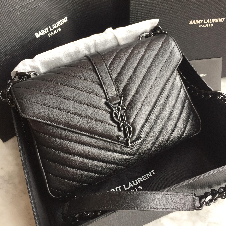 f0ec5f9a05fbd Ysl Saint Laurent college flap bag black hardware original leather 24cm