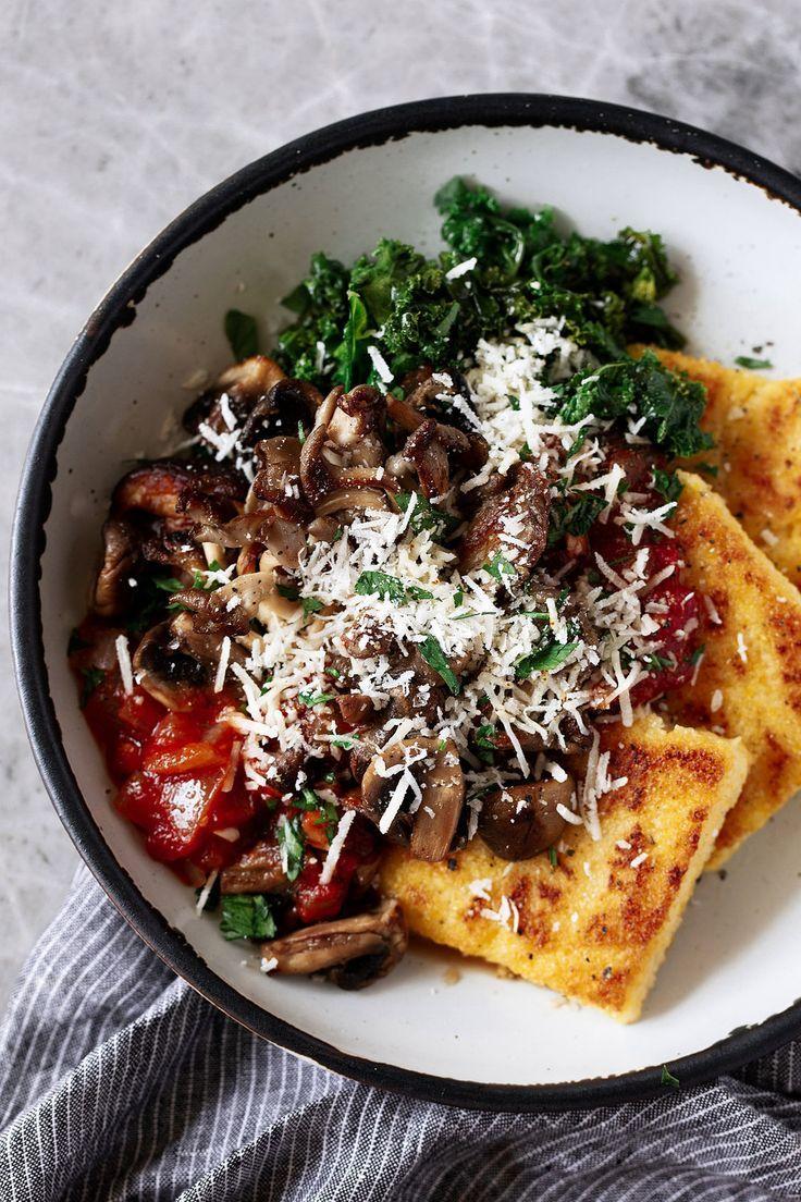 Crispy Polenta with Spicy Tomato Sauce, Sautéed Kale & Mushrooms