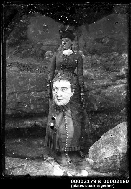 Portrait of two women, c 1900 This image features two glass plate negatives stuck together. The effect is eye-catching with an image of a seated woman superimposed on another image of a woman standing. This photo is part of the Australian National Maritime Museum's William J Hall collection. (on The Commons, via Flickr)