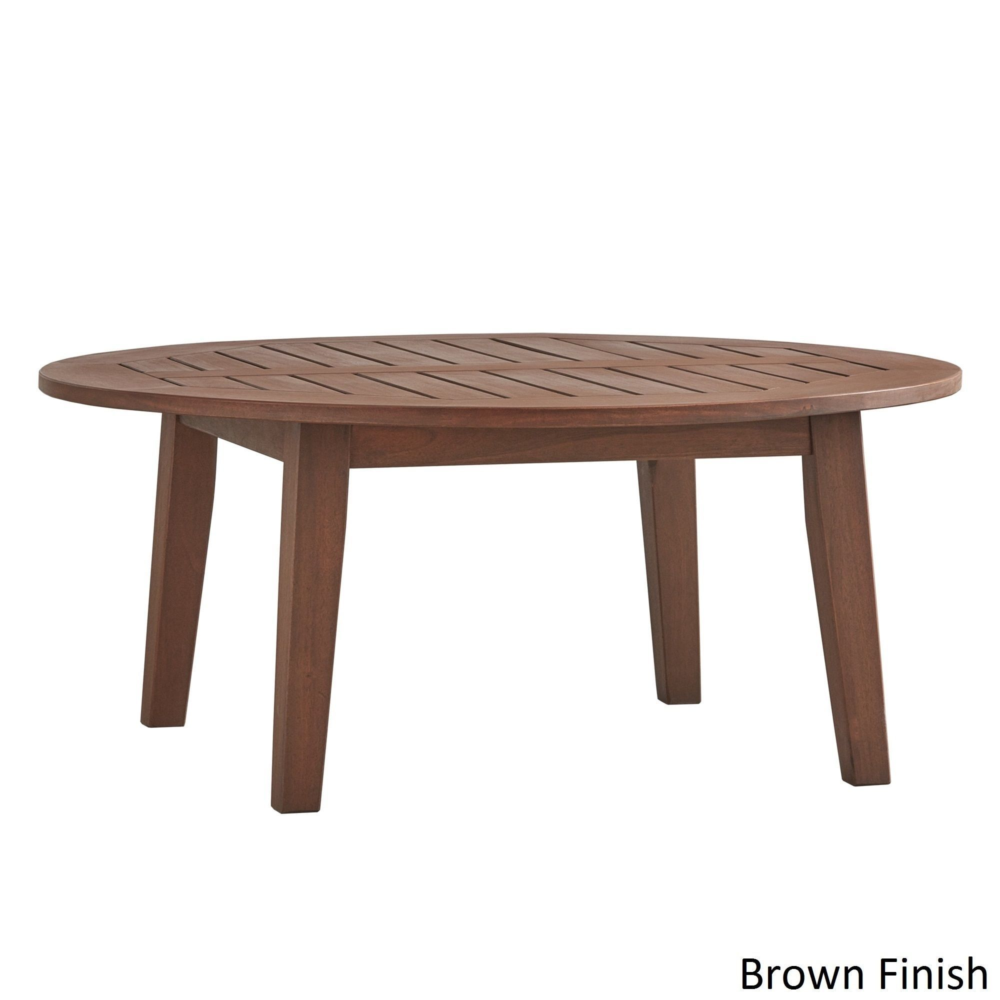 Yasawa Wood Patio Round Coffee Table iNSPIRE Q Oasis (Brown Finish Coffee  Table),