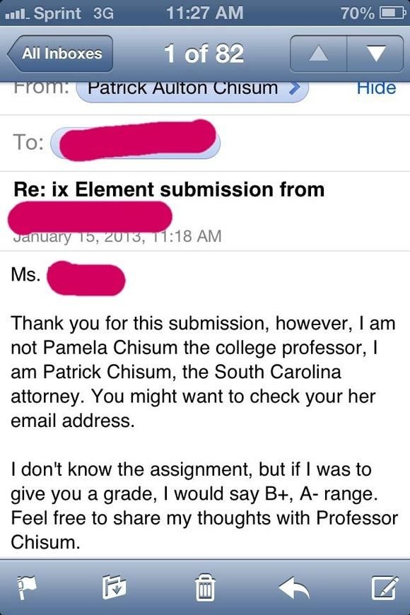Assignment Emailed To The Wrong Email Address