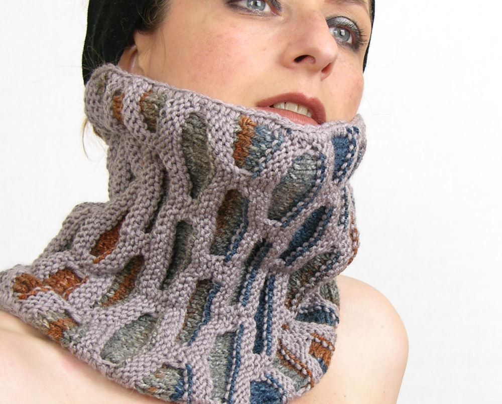 neck warmer turtle neck tube scarf knit honeycomb motif orchid brown ...